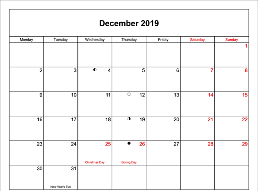 2019 December Calendar with Holidays