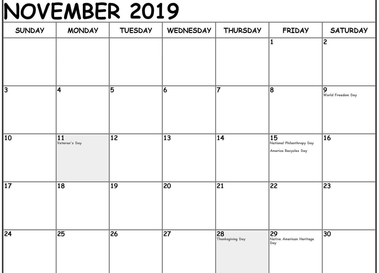 2019 November Calendar Holidays