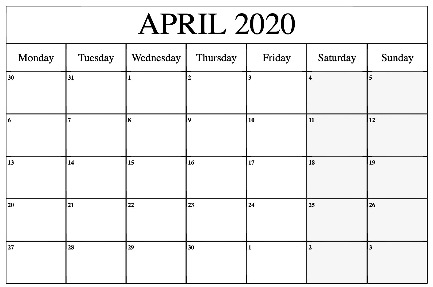 April 2020 Calendar Printable Monday
