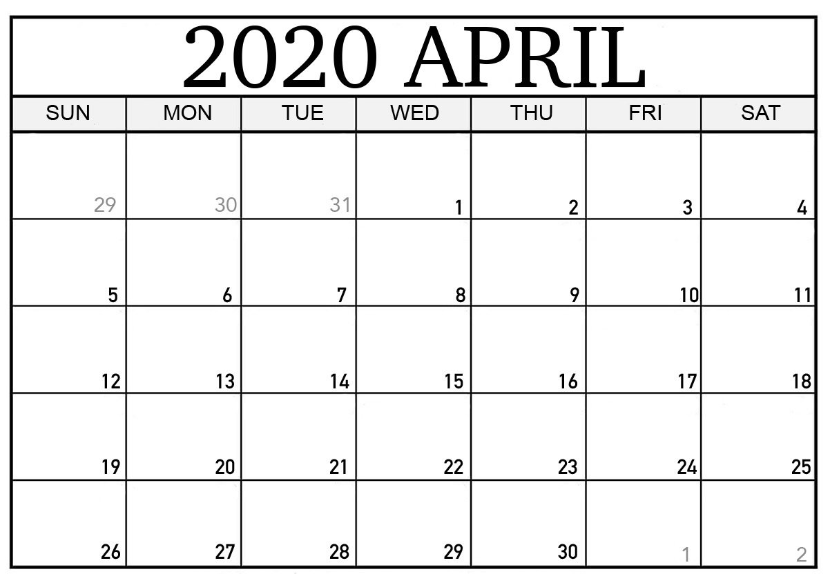 It's just a graphic of Exhilarating Printable April 2020