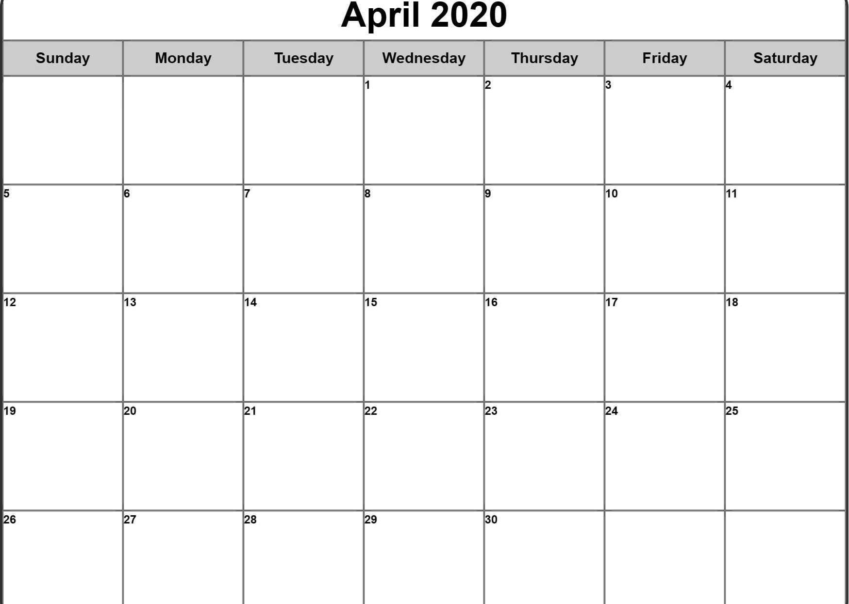 CALENDAR 2020 APRIL - Free Printable Calendars and Planners 2019