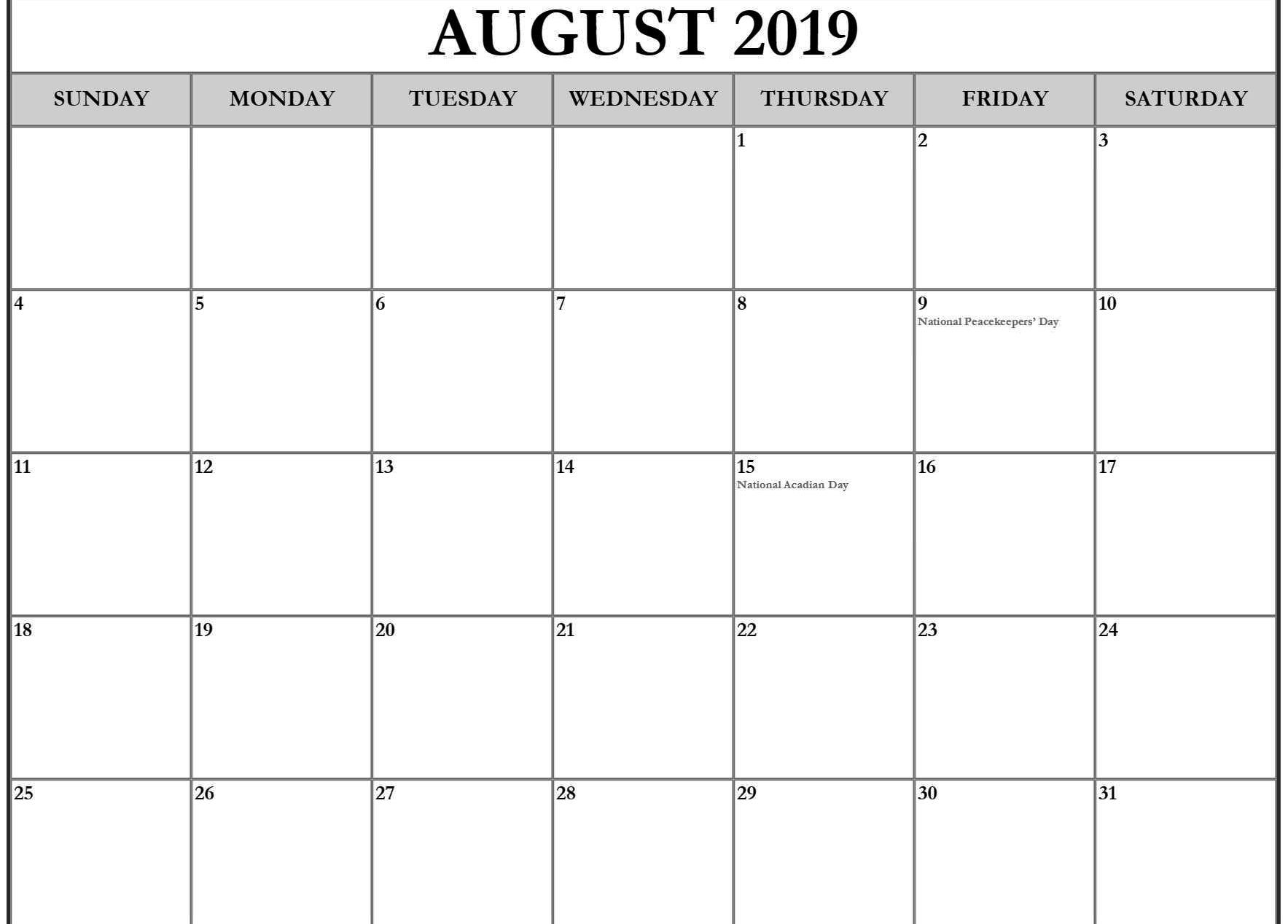 August 2019 Calendar Holidays Printable