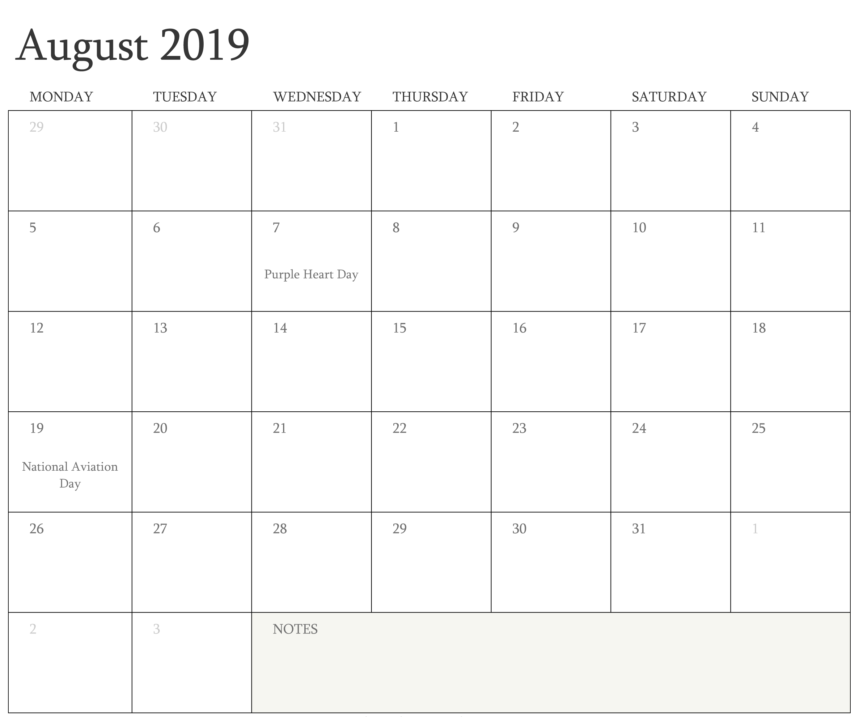 August 2019 Calendar Holidays