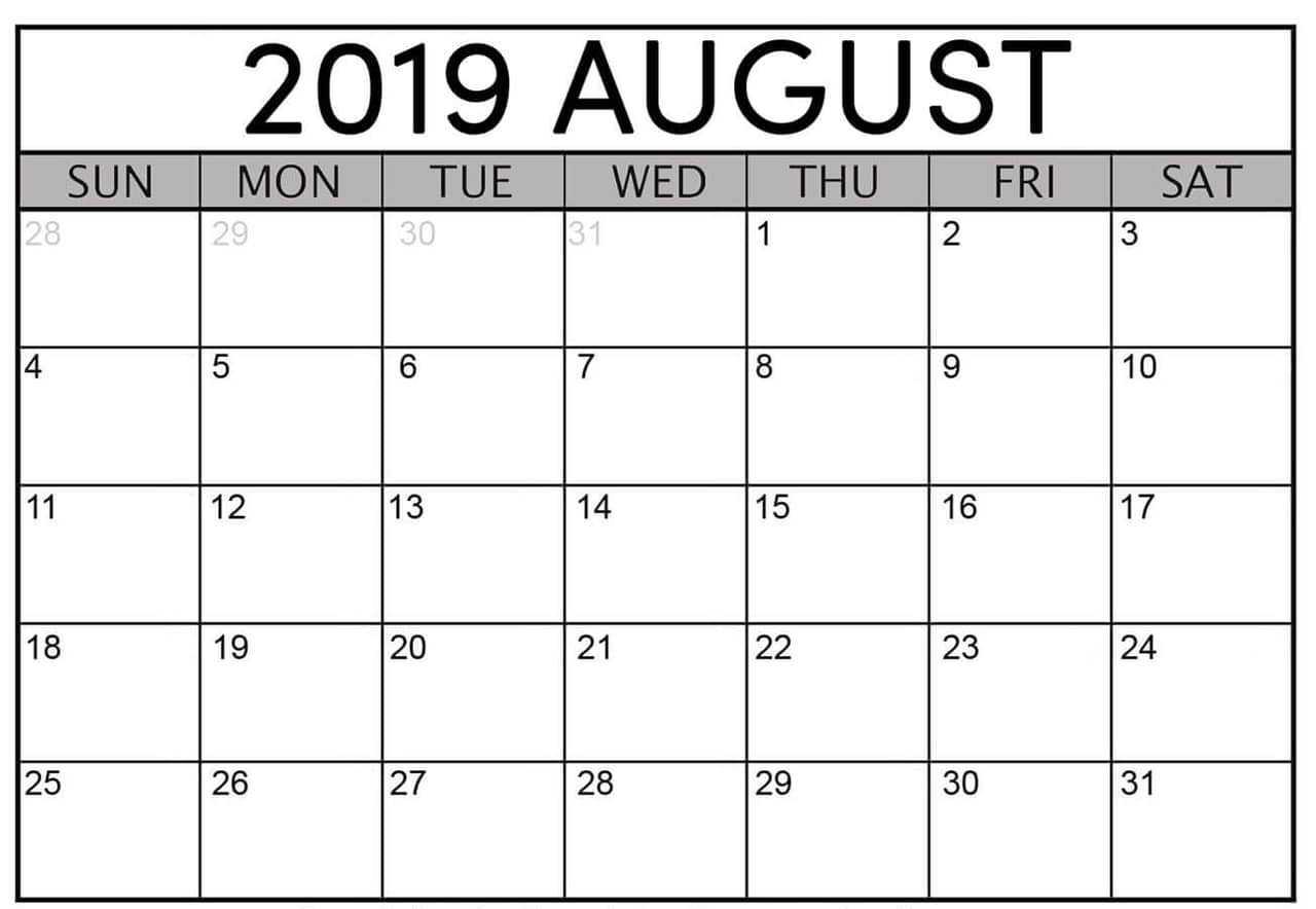 August 2019 Calendar Template