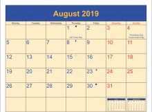 August 2019 Calendar With Holidays UK