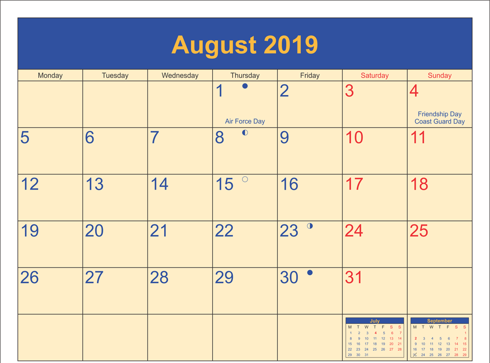 August 2019 Calendar With Holidays.August 2019 Calendar With Holidays Printable Template