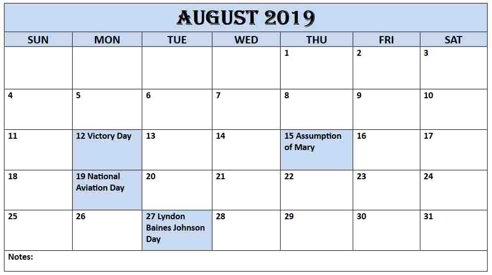 August 2019 Calendar With Holidays US