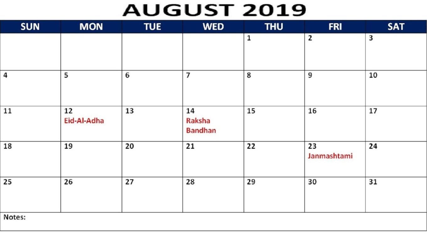 August 2019 Calendar With Holidays