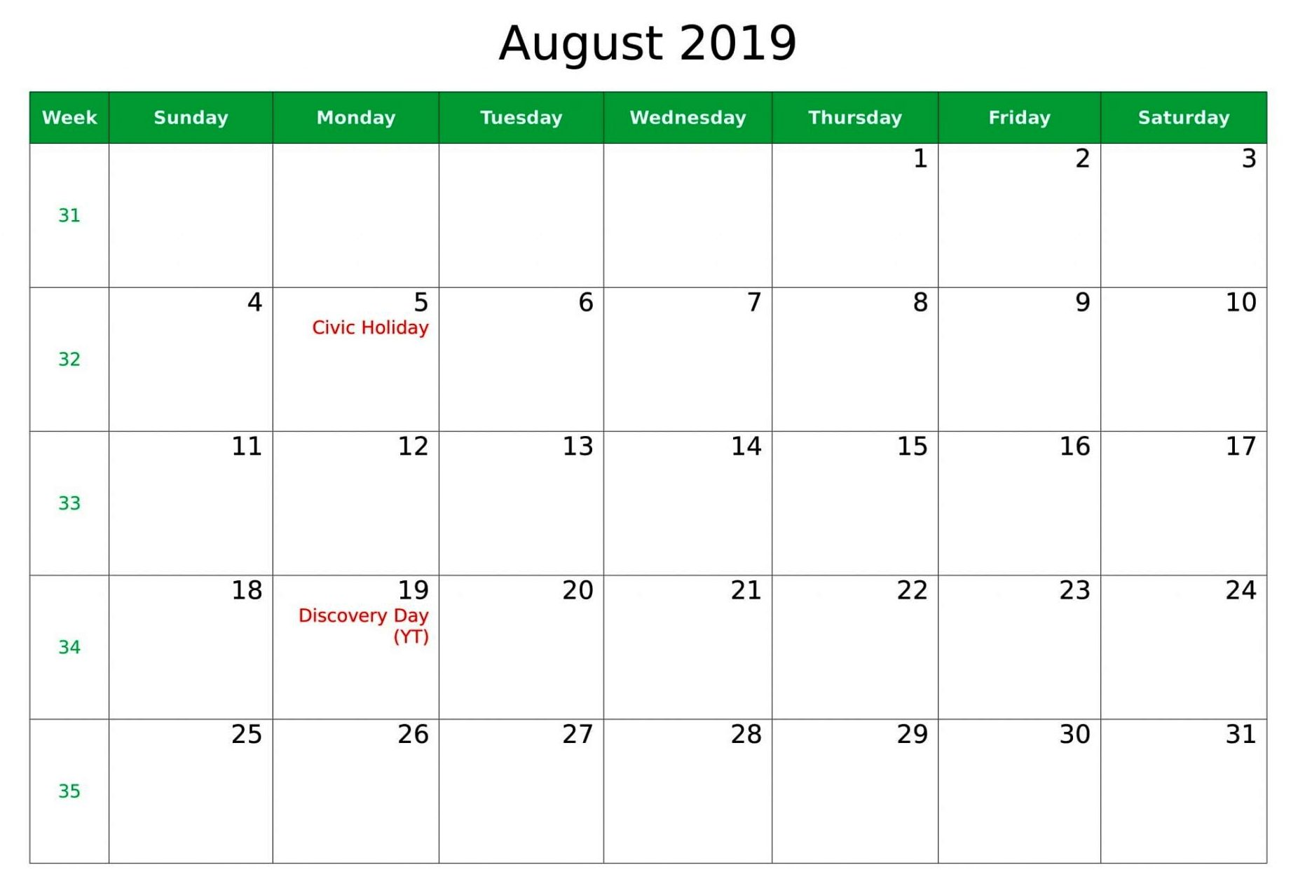 picture relating to Calendar With Holidays Printable called August 2019 Calendar With Holiday seasons Printable Template