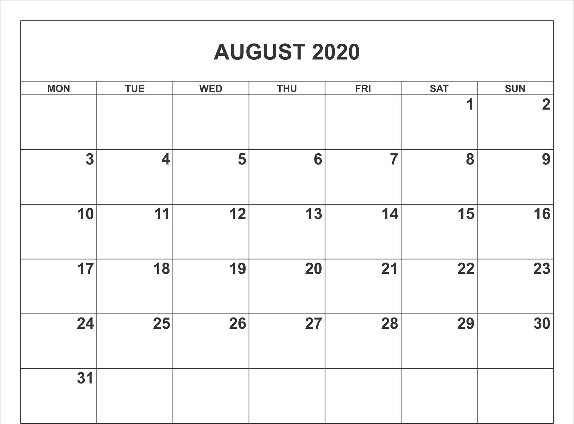 Calendario 2020 Word.August 2020 Calendar Pdf Word Excel Template