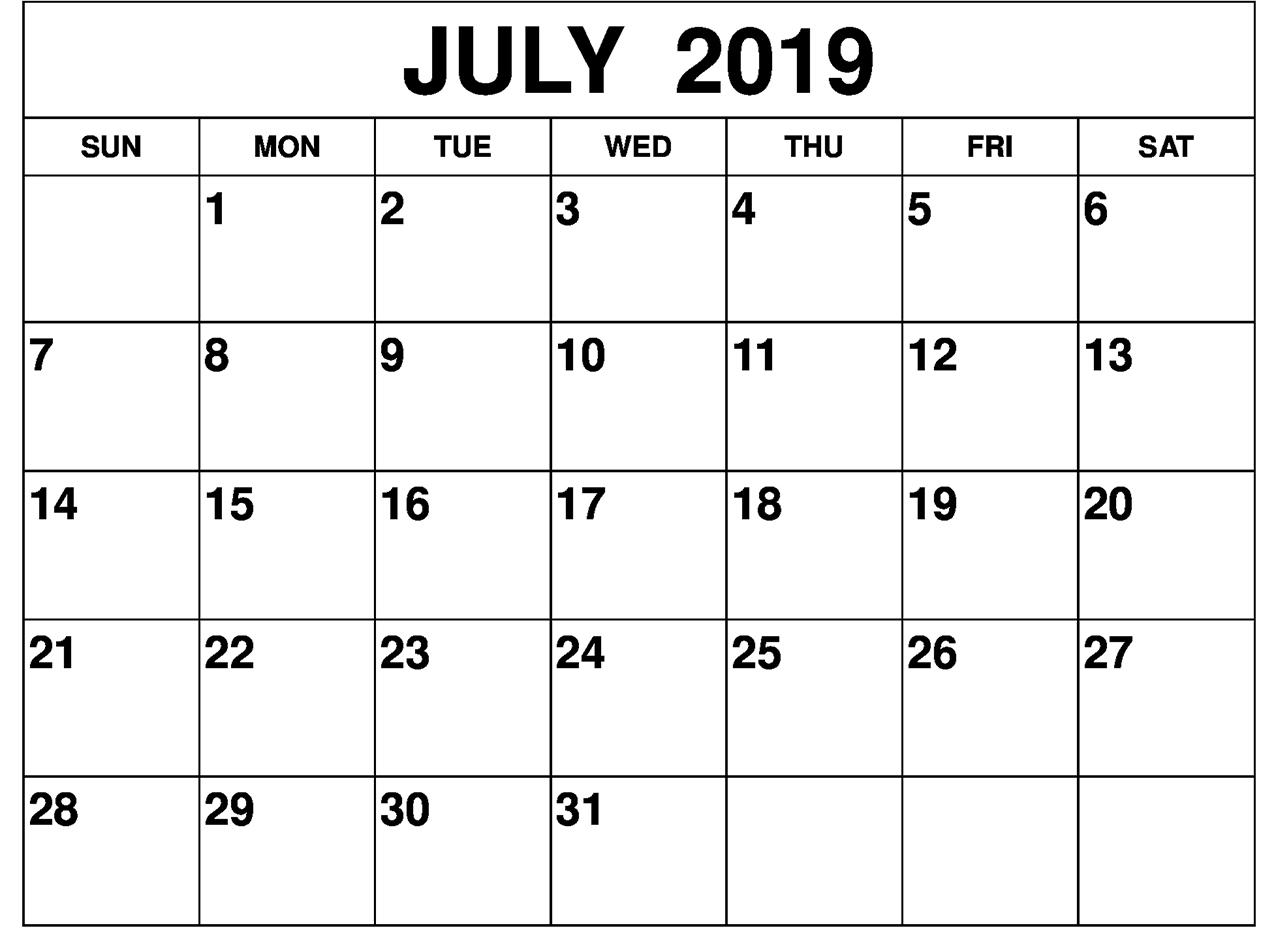 Blank July 2019 Calendar Printable Template