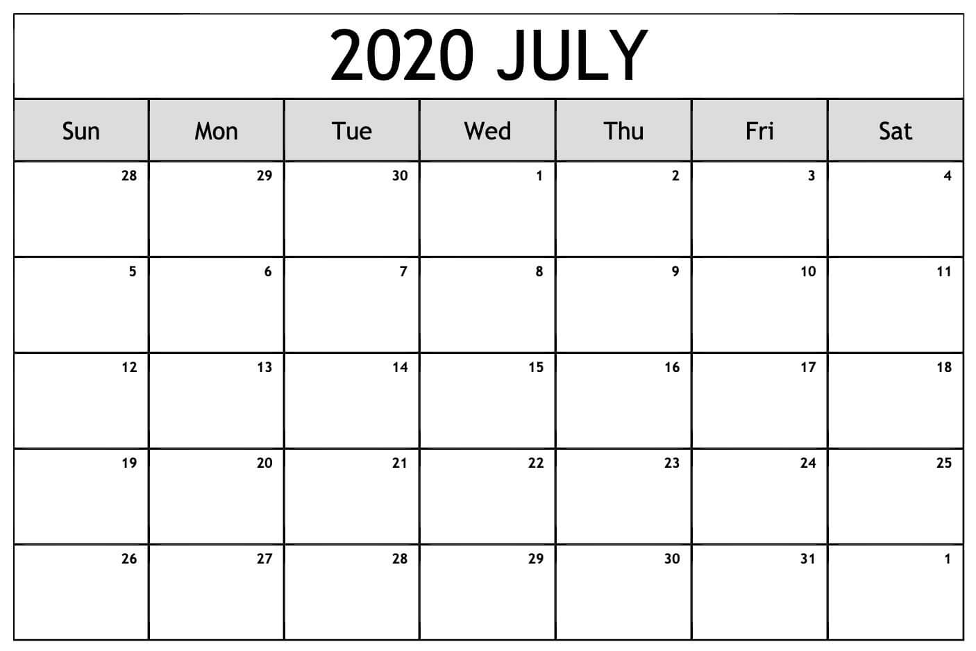 Blank July 2020 Calendar Moon Phases