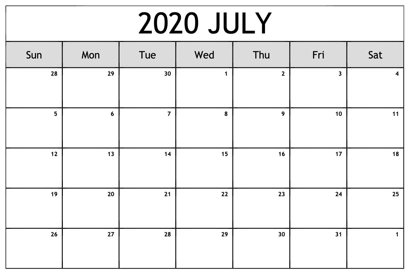 Blank July 2020 Calendar PDF