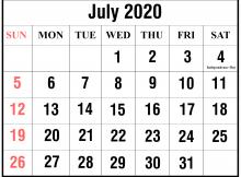 Blank July 2020 Holidays Calendar Moon Template