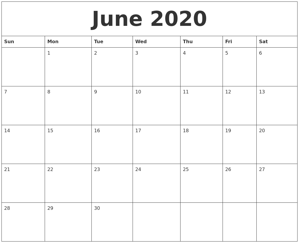 Blank June 2020 Monthly Calendar Template