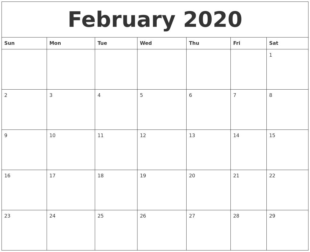 Calendar of February 2020