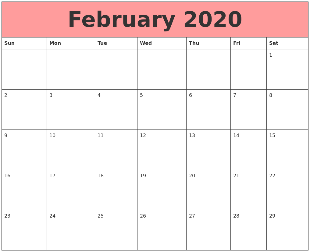 February 2020 Printable Calendar Cute.February 2020 Calendar Pdf Word Excel Template