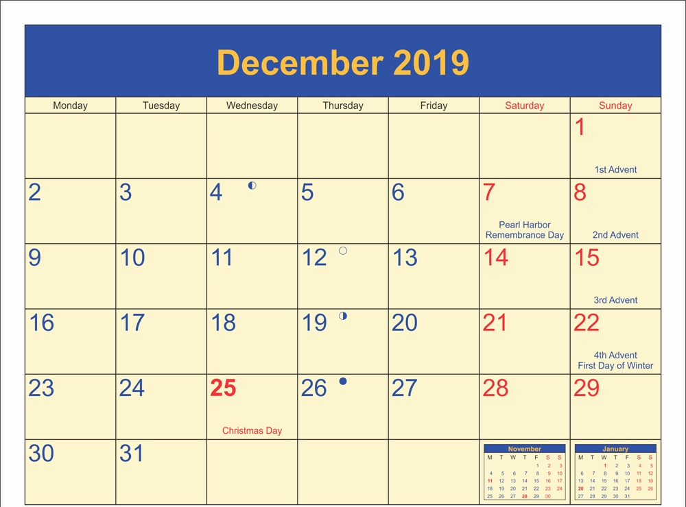 December 2019 Calendar with Holidays Canada