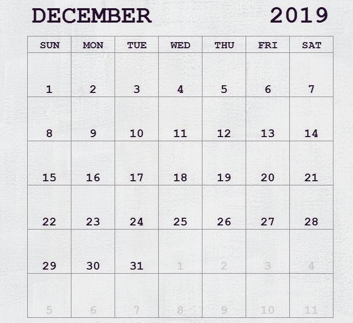 December Calendar 2019 Holidays