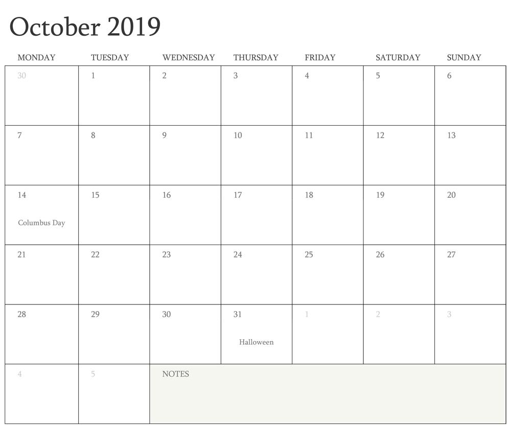 Editable Fillable October Calendar 2019