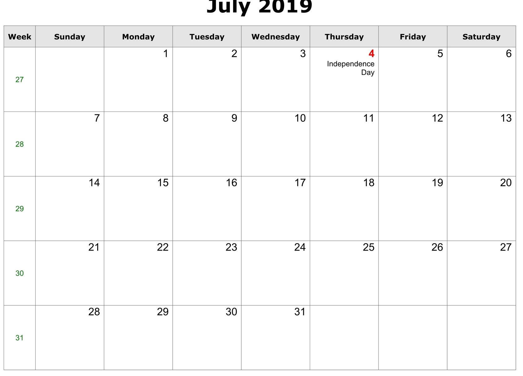 Editable July 2019 Calendar Printable