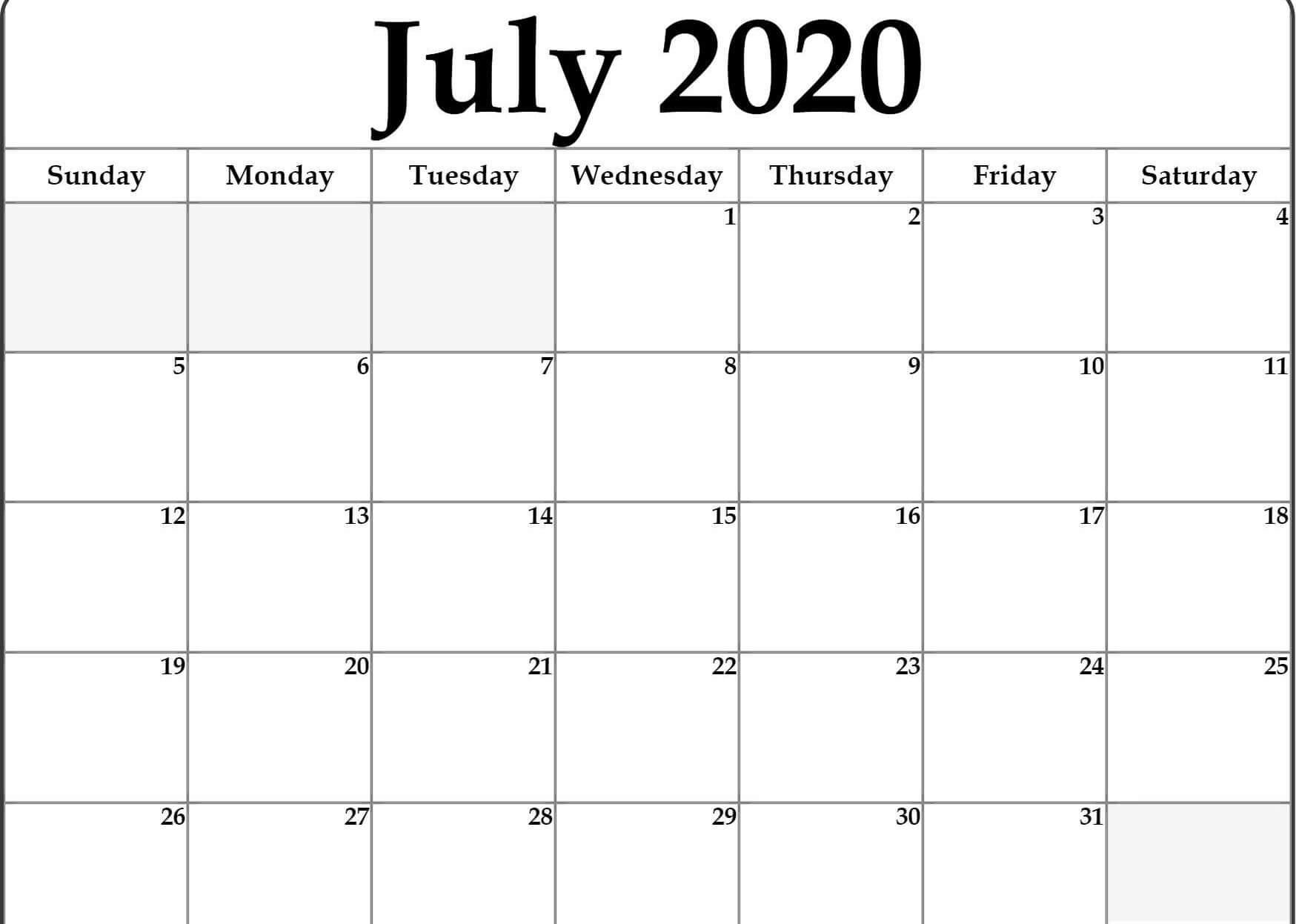 Editable July 2020 Calendar Printable