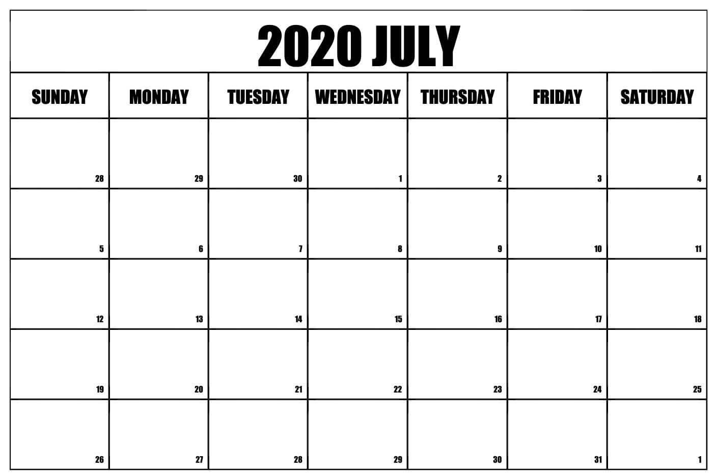 Editable July Calendar 2020 Template