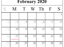 February 2020 Calendar With Holidays