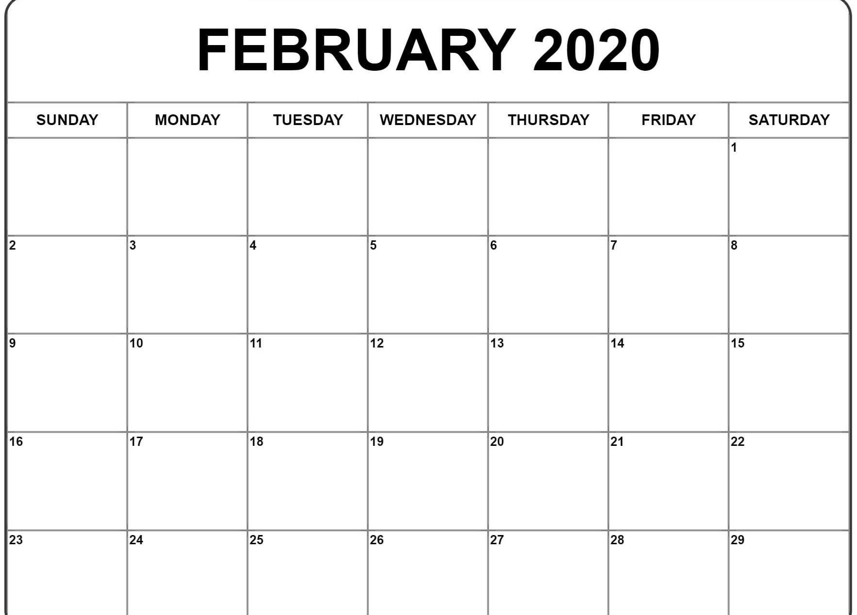 Calendario 2020 2020.February 2020 Calendar Pdf Word Excel Template
