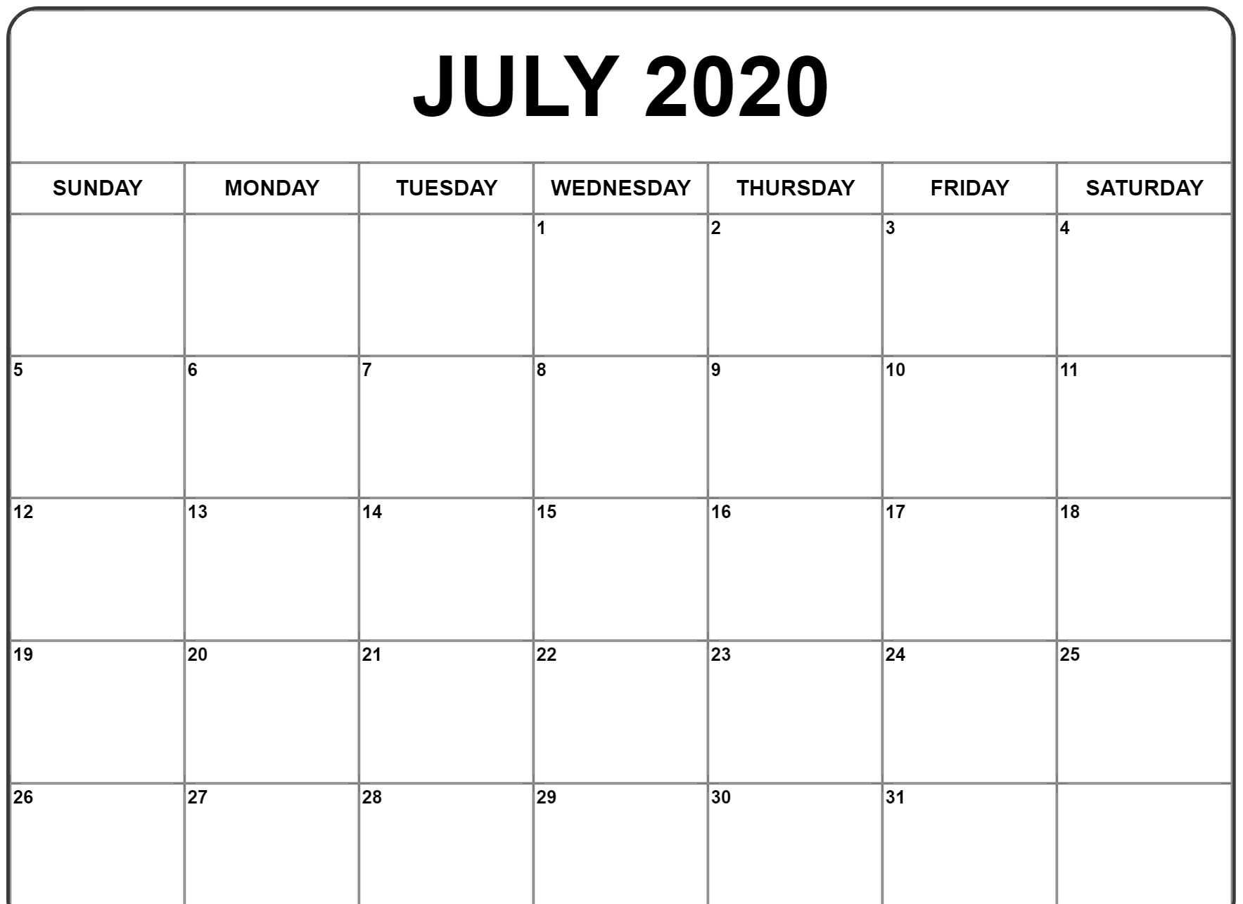 Fillable July 2020 Calendar Templates