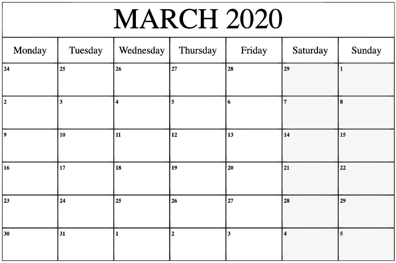 Fillable March 2020 Calendar PDF