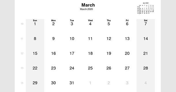 Fillable March 2020 Calendar With Notes