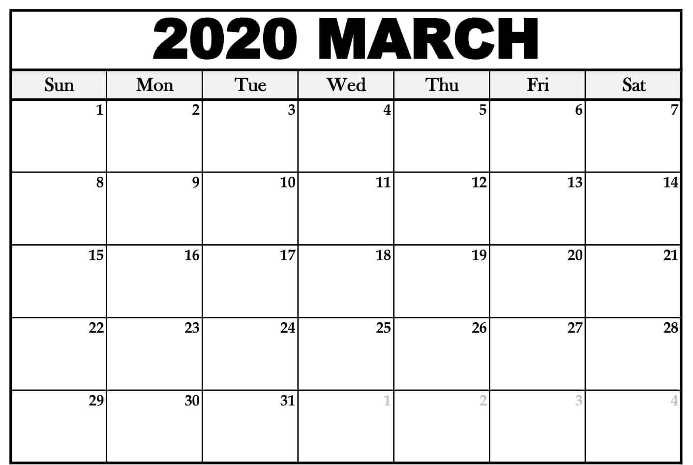 Fillable March 2020 Calendar Word Doc