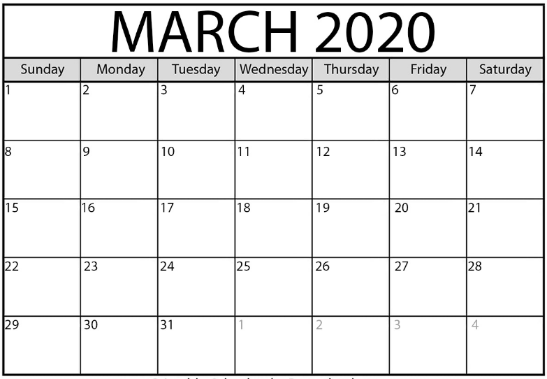 Fillable March 2020 Monthly Calendar Excel