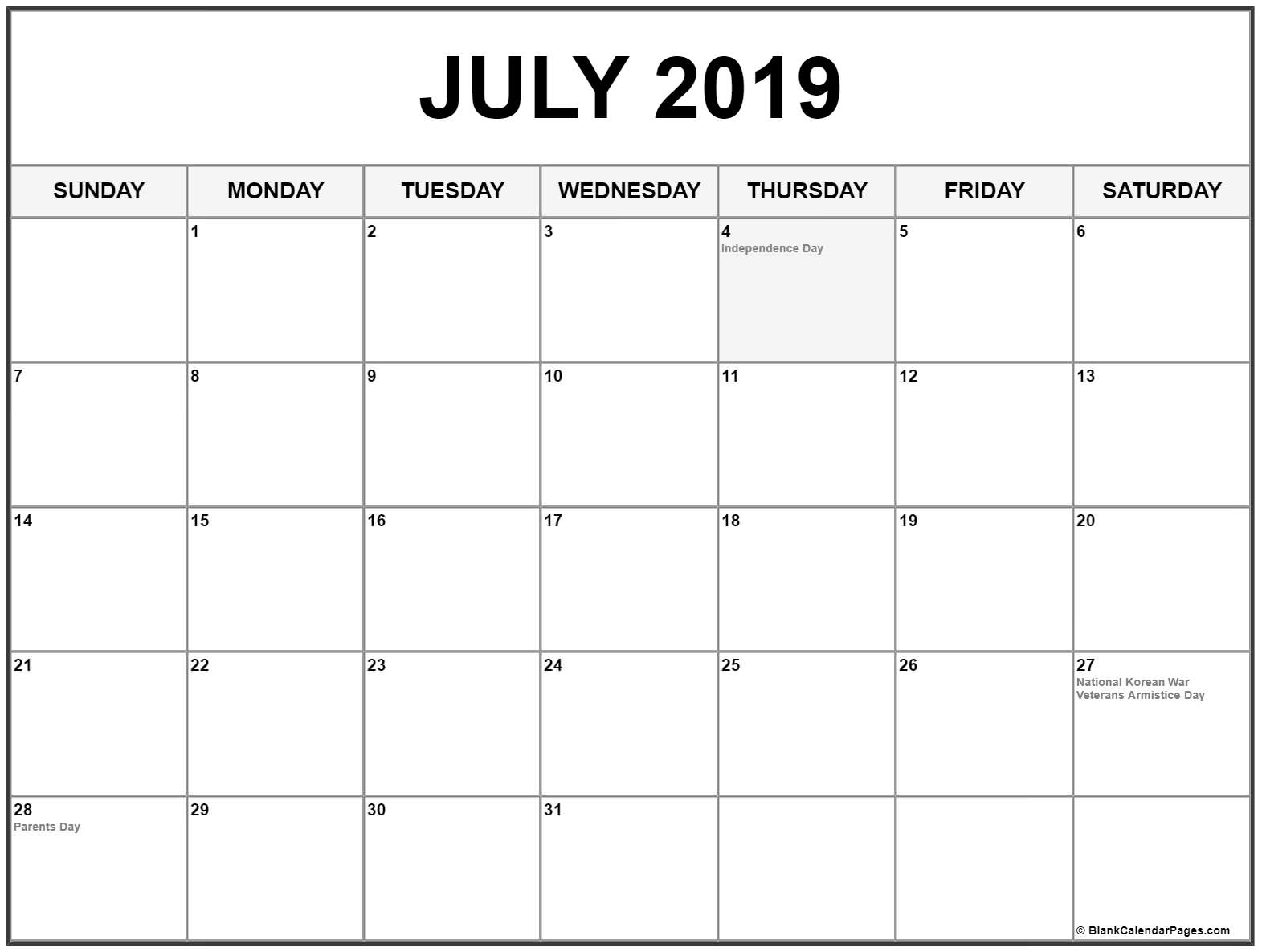 July 2019 Calendar US Holidays