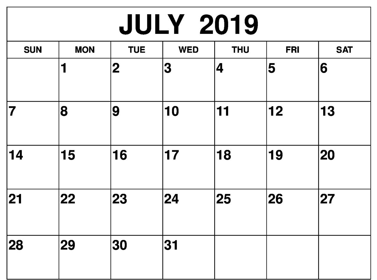 July 2019 Calendar Word
