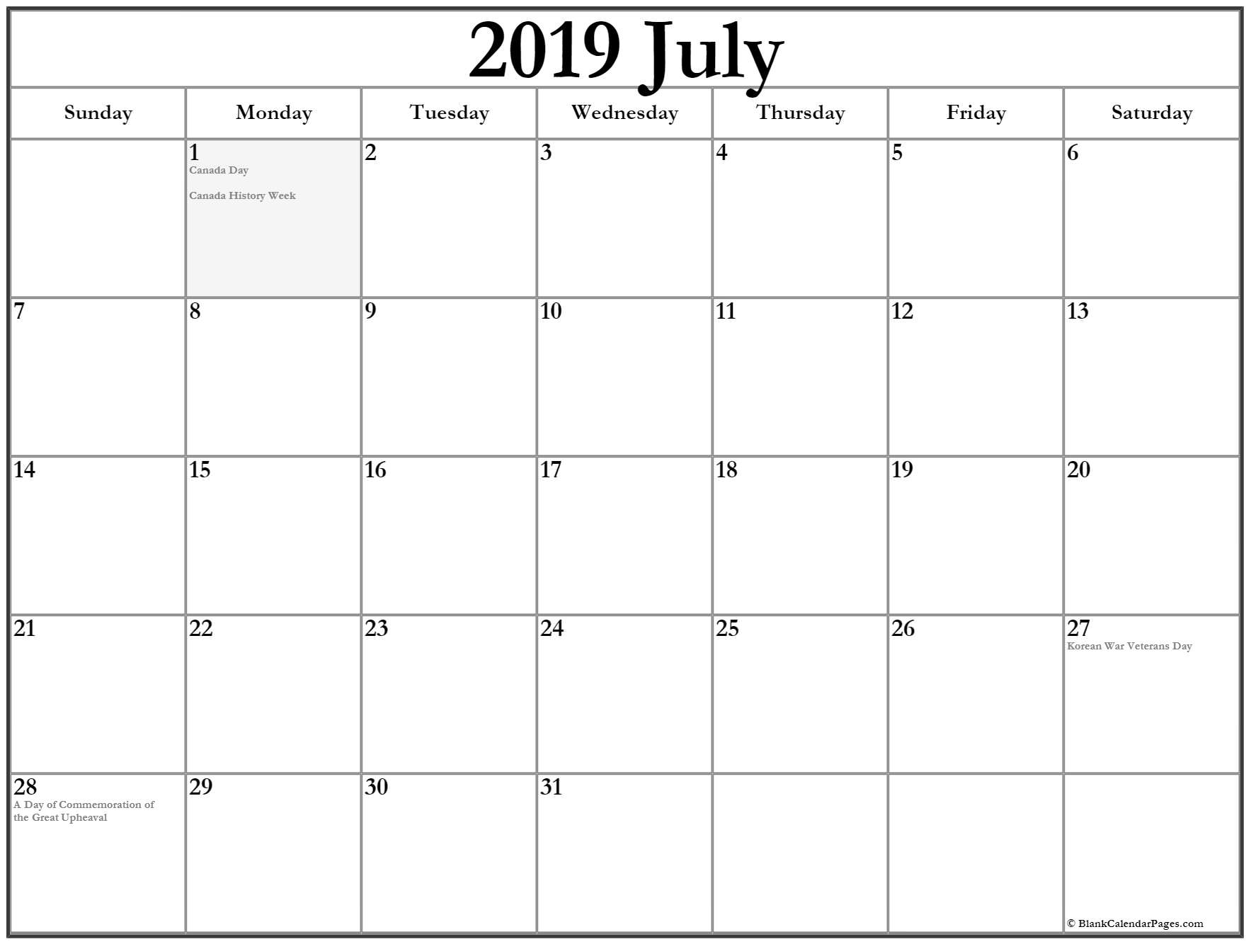 July 2019 Calendar with Holidays US, UK, Canada, India 2