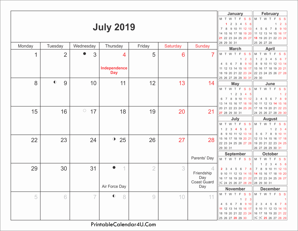 July 2019 Calendar with Holidays US, UK, Canada, India 3