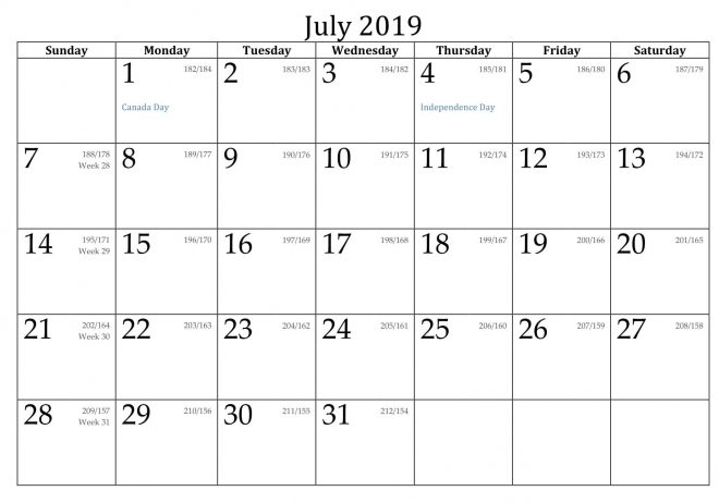 July 2019 Calendar with Holidays US, UK, Canada, India 1