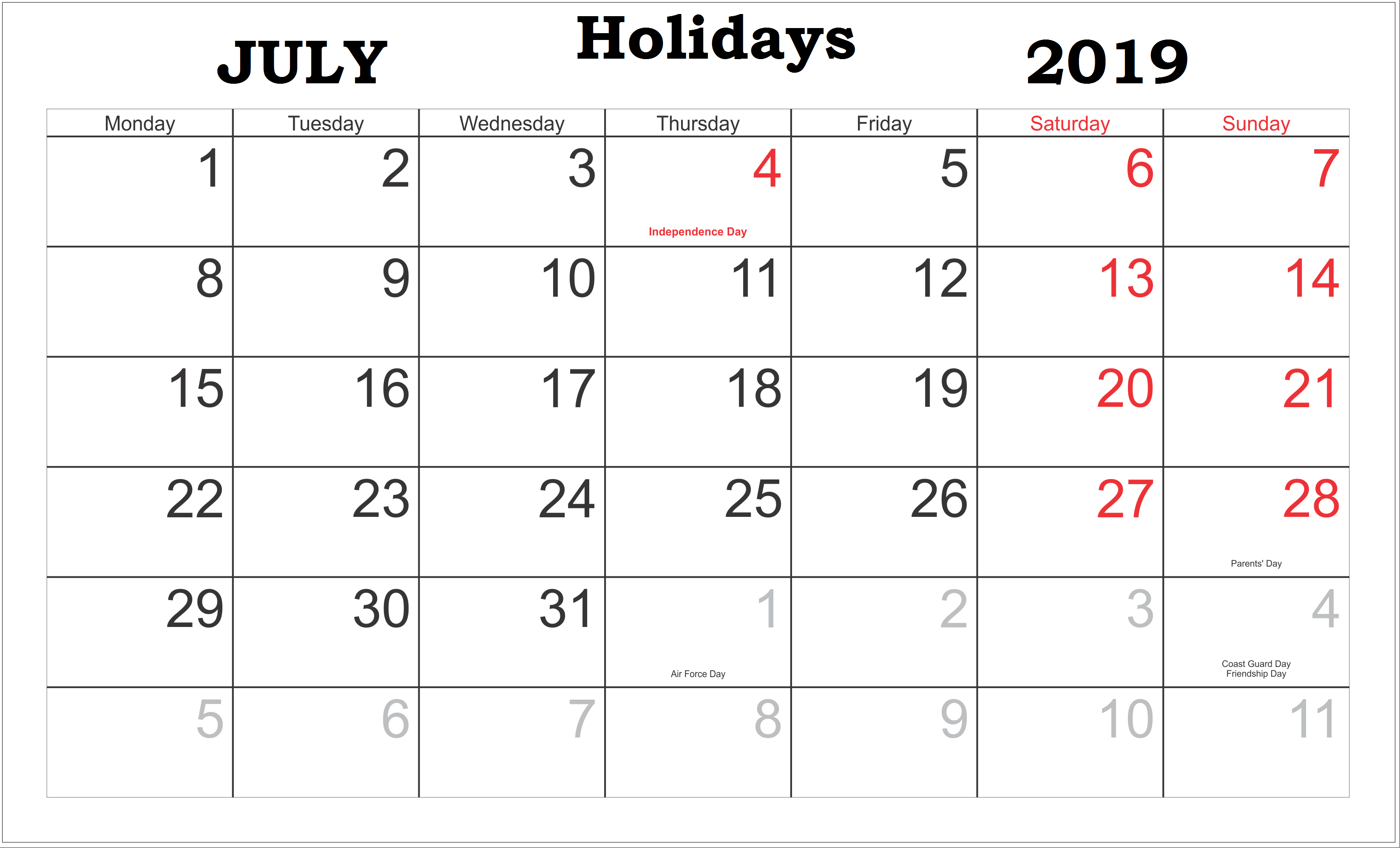 July 2019 Calendar with Holidays US