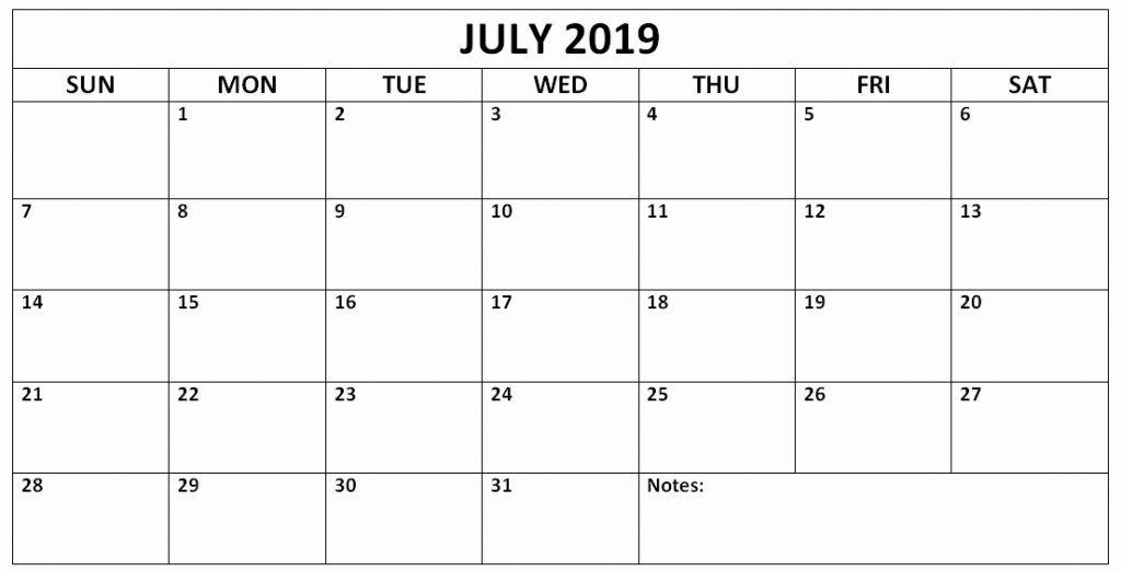 July 2019 Editable Calendar
