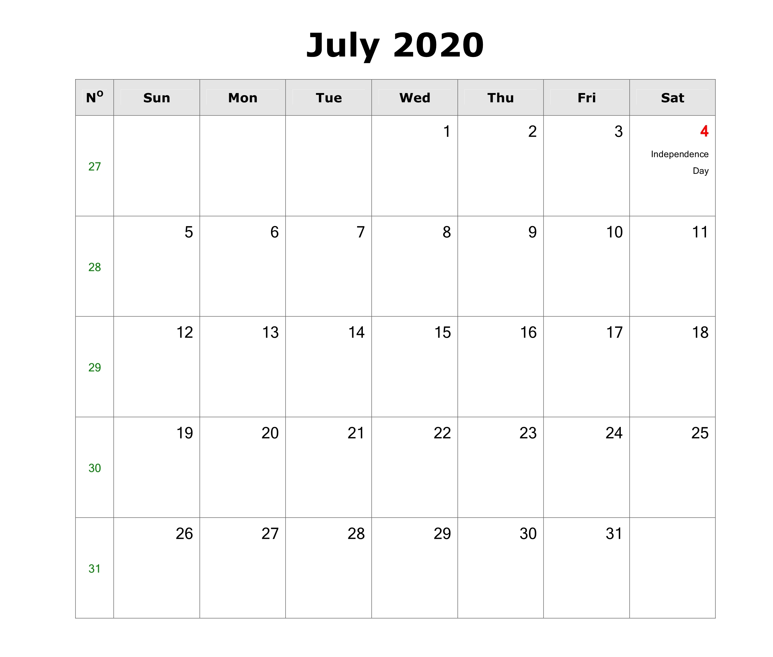 July Calendar For 2020.Awesome July 2020 Calendar Pdf Word Excel Template