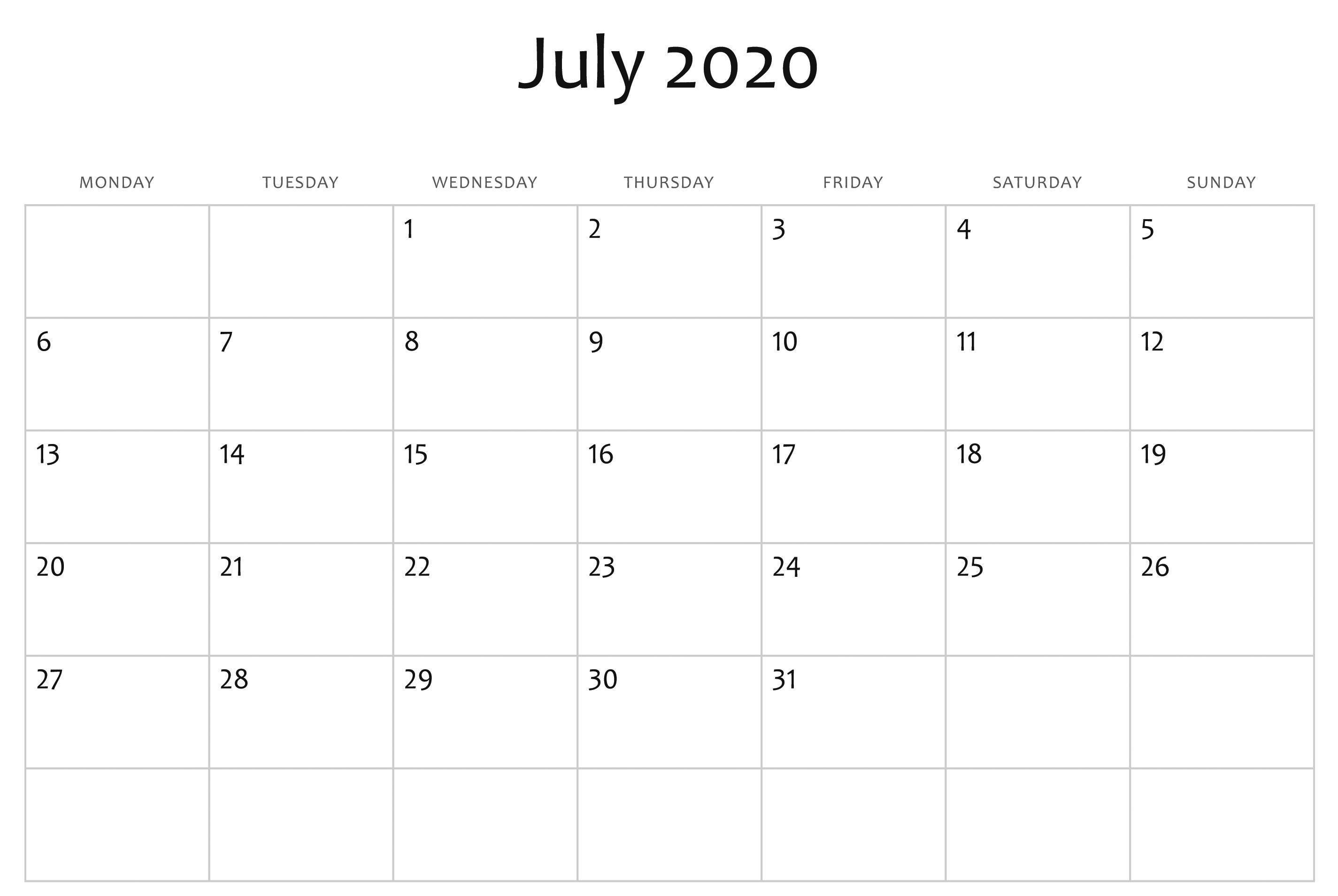 July 2020 Calendar Printable.Awesome July 2020 Calendar Pdf Word Excel Template