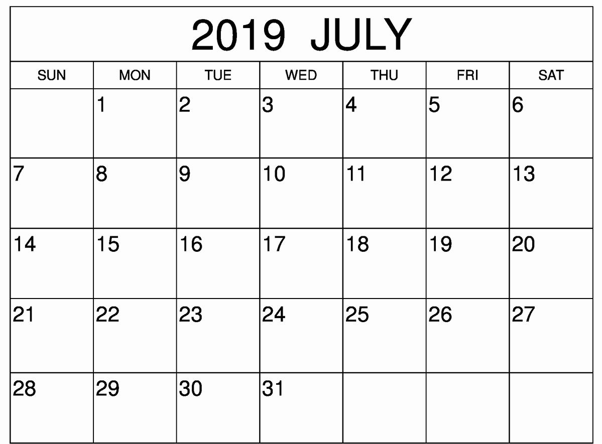 July Calendar 2019 Printable