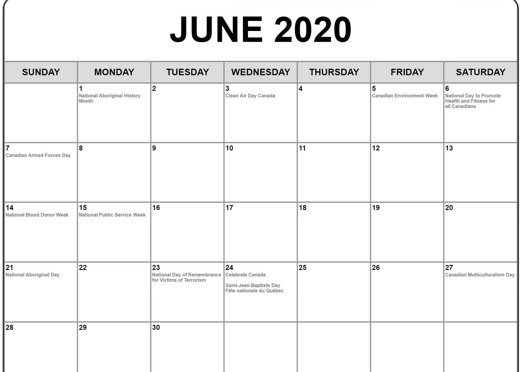June 2019 To June 2020 Calendar Printable.June 2020 Calendar Pdf Word Excel Template