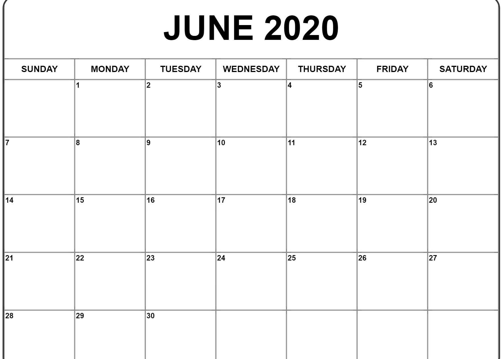 Calendario In Excel 2020.June 2020 Calendar Pdf Word Excel Template