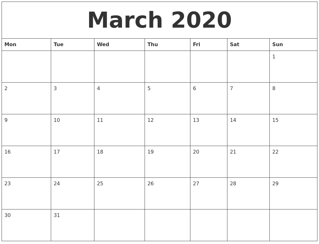 March 2020 Calendar Fillable Template