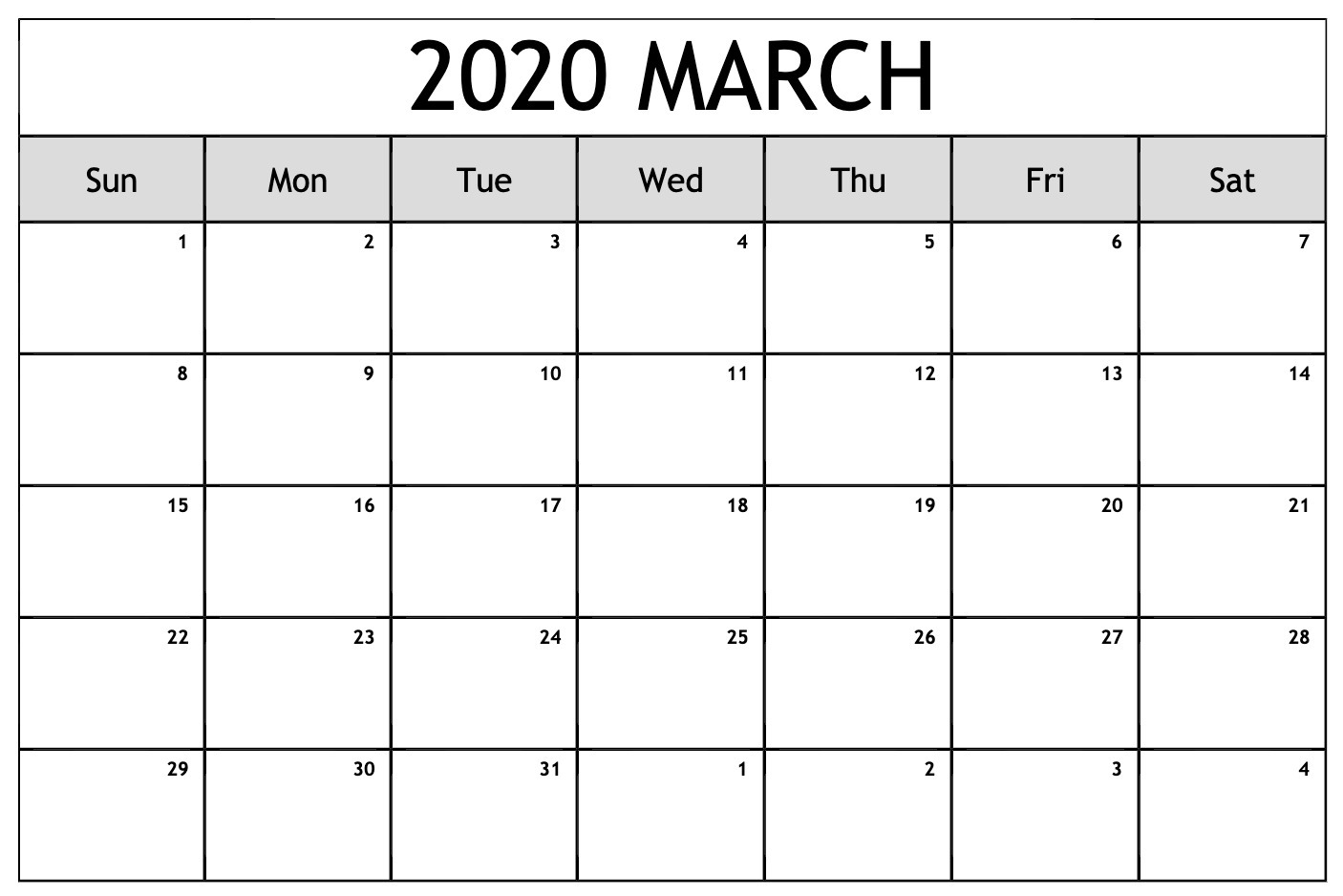 Calendario 2020 Word.March 2020 Calendar Pdf Word Excel Template