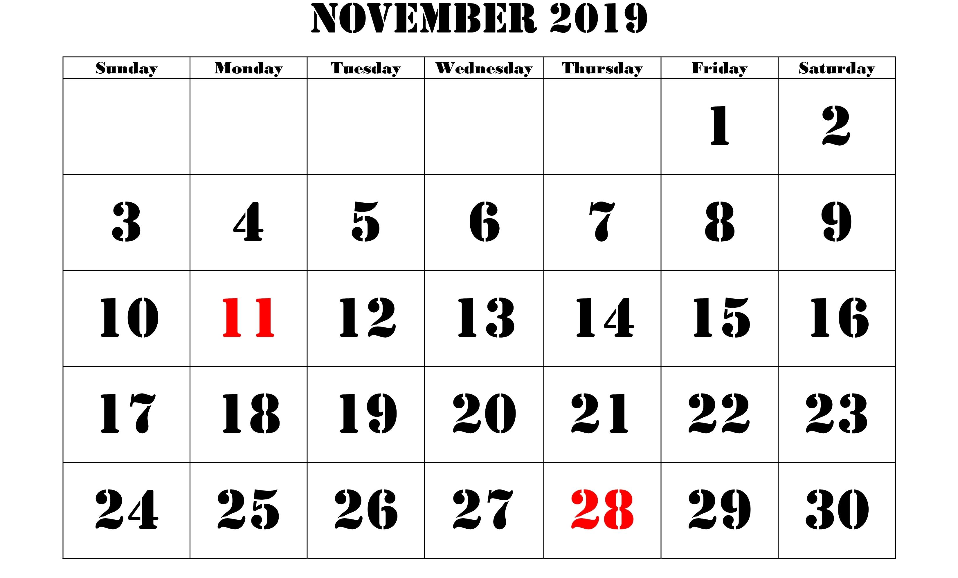 November 2019 Calendar Holidays