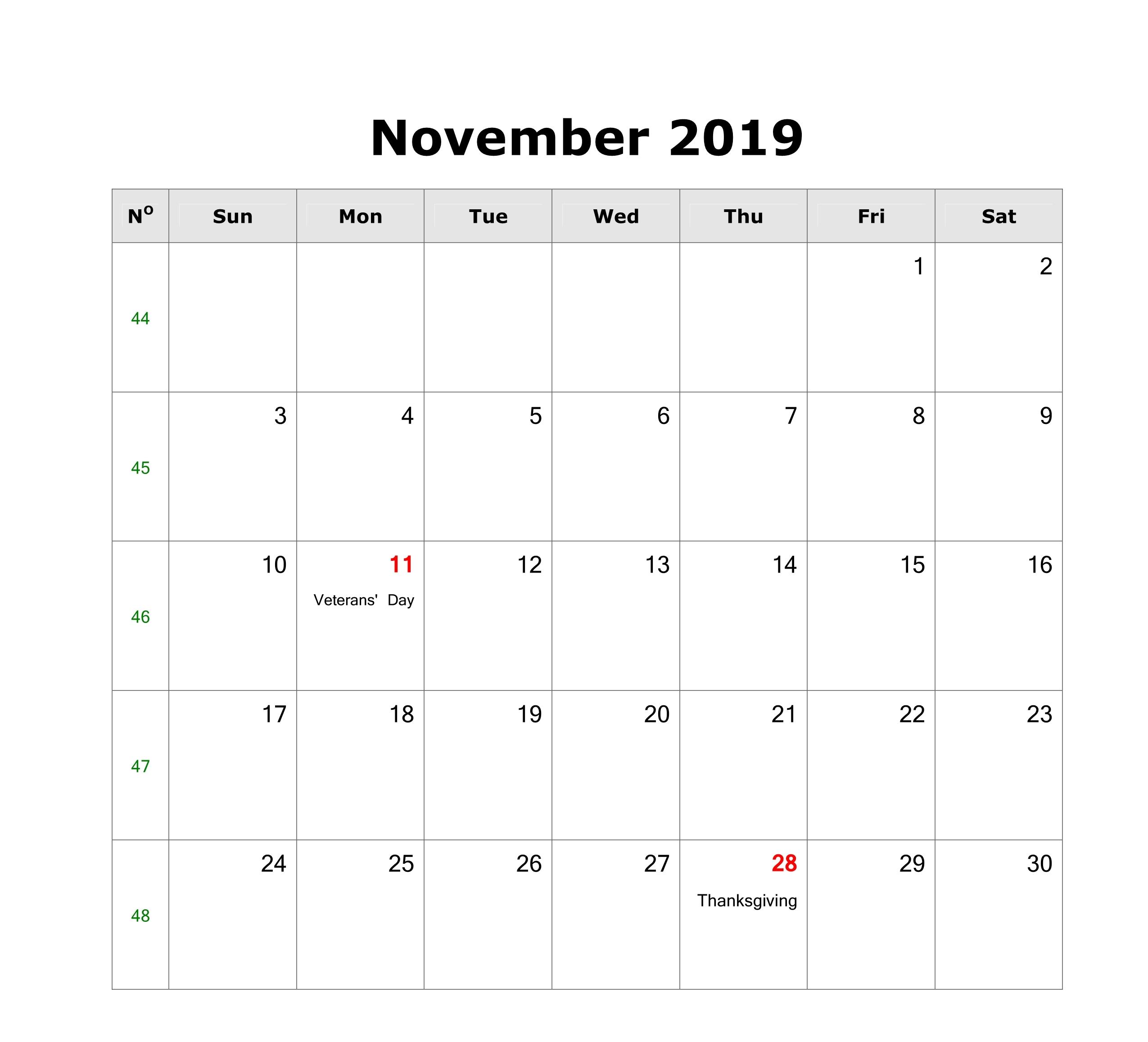 November 2019 Calendar with Holidays Canada